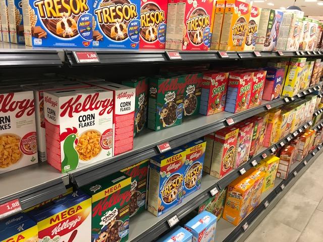 Zuckerreiche Frühstück-Cerealien